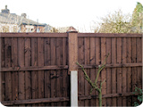 5ft feather edge fence panels in 3ft concrete fence posts with 2ft fence post extenders.