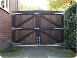 Yard gate right after completion and before fitting at our workshop in Bury.