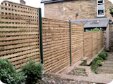 ALL trellis fencing, attached to wooden posts, with matching trellis gates.